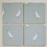 4 Ceramic Coasters in Sophie Allport Mini Runner Duck